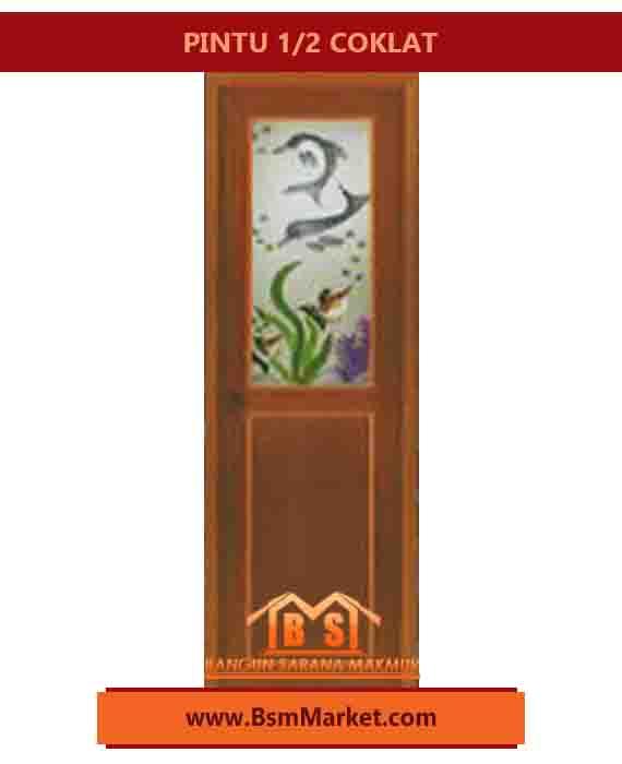 PINTU PVC 1/2 SPECIAL EDITION KUAT 3 Engsel Warna COKLAT