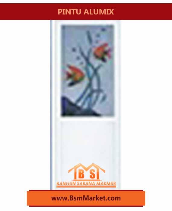 Pintu ALUMIX Putih Motif Bunga