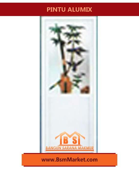 Pintu ALUMIX Putih Motif Bambu Hijau