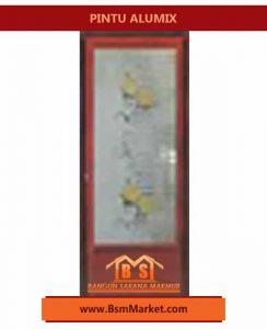 pintu Alumix Motif bambu Coklat bunga